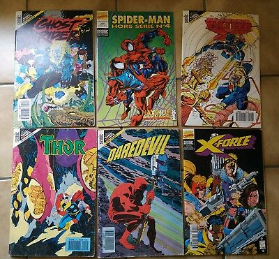 Lot 6 Comics VF Version Intégrale période Sémic : X-Force, Spider-Man, Thor...