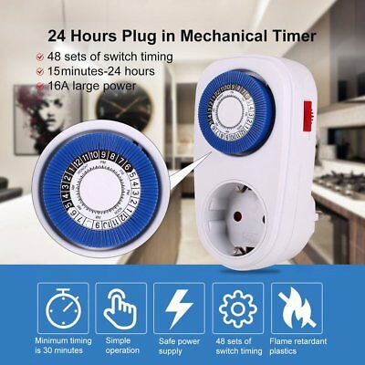 24 Hours Plug in Mechanical Grounded Programmable Smart Countdown Timer SwitchVh