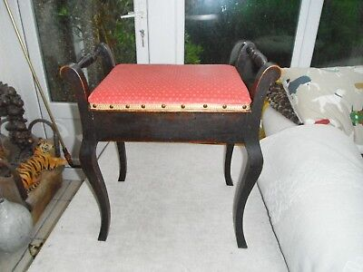 Stunning Antique wooden piano stool  upholstered in Laura Ashley fabric ornate