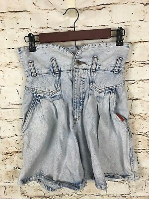 Vintage Bonjour High Waist Pleated Slit Pocket Acid Wash Denim Jean Shorts 7/8