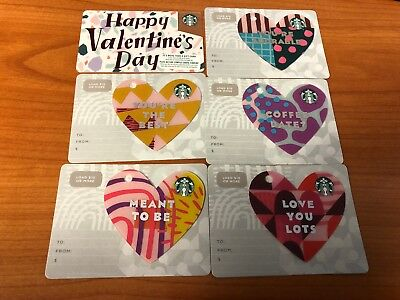 STARBUCKS Gift Cards Hearts lot of 6 Valentine's Day 2019 new