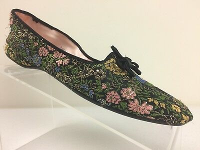 Daniel Green Womens Slippers Floral Metallic Brocade House Boudoir Shoes 8.5 AA