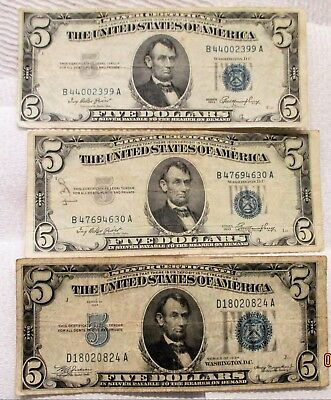7 $5 Notes 1934-53-63 Silver Certificate & U.s.notes Fair To Good Condition