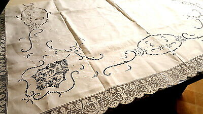 Antique French embroidery Table linen cloth .19th century.