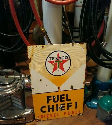 Texaco Fuel Chief  Porcelain Sign