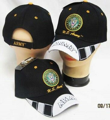 US Army Seal Emblem army On Bill White / Black Embroidered Cap CAP601E Hat