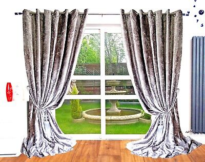 Crushed Velvet Curtains Anneau Top Eyelet Long Ready Made
