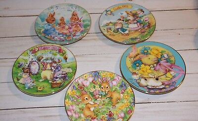 """Lot of FIVE - 5"""" AVON Easter Plates - 1992, 1993,1994, 1995, 1996 - Easter Bunny"""