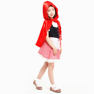 Halloween Little Red Riding Hood Casual Fancy Dress Kids Girls Costume Cosplay