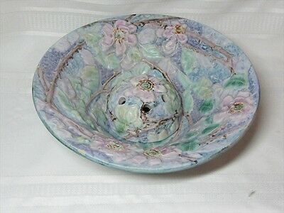 WELLER POTTERY, SILVERTONE CONSOLE BOWL w FLOWER FROG, GORGEOUS~~