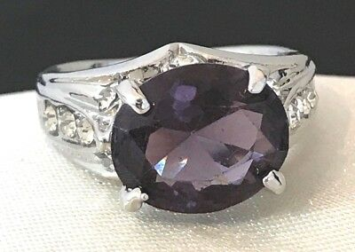 Vintage Cocktail Ring  Amethyst Colored Crystal Accent Purple Size 6 1b