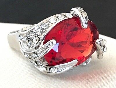 Vintage Cocktail Ring Ruby Red Glass Crystal Accents Rhodium Plate Size 6 2i