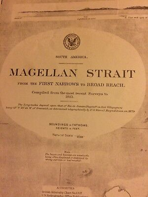 Antique Map   Magellan  Strait South America Nice Quality Map 1921