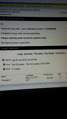 Hugh Jackman 2 Tickets The Man, The Music The Show