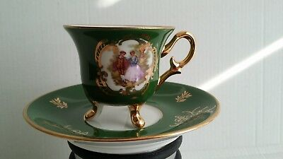 Tasse Tripode + Soucoupe  Vert + Or Porcelaine Limoges Style Empire