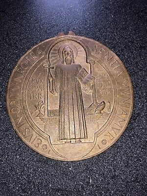 """Medieval St. Benedict Bronze Holy Medal Patron Exorcism Protection 5"""" Diameter"""