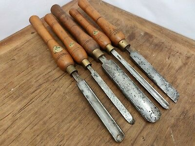 Fine Collection of 5 Vintage Marples Woodturning Tools Large E00293