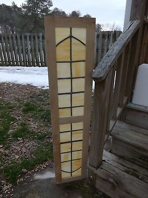 Antique Vintage Leaded Stained Glass Window Slag Arts and Crafts Salvage Transom