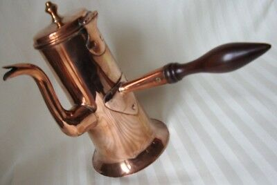 Copper chocolate pot with wood turned handle
