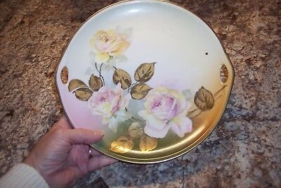 Vintage Hand Painted Handled Cake Plate with Rose Motif