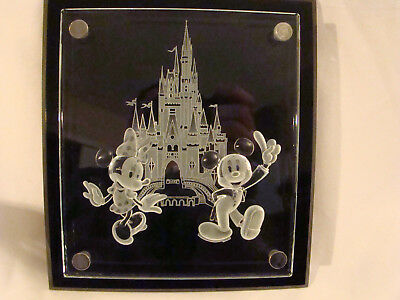 Disney World Gallery Mickey Mouse & Cinderella Castle Etched Crystal Plaque