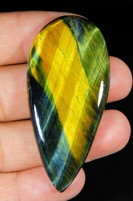 72 Ct Natural Blue  Pietersite Fire Tiger's Eye Pear Cabochon Loose Gemstone B85