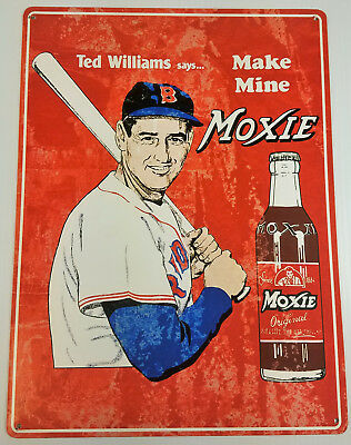 Ted Williams Says Make Mine Moxie Soda Pop Bottle Heavy Duty Metal Adv Sign
