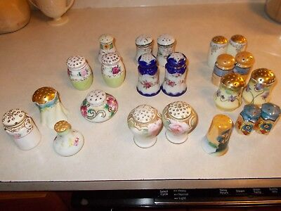 Great lot of antique/vintage porcelain Salt and Pepper Shakers w/ gold accents