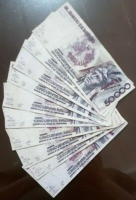 Bank Of Mexico Extremely Scarce $50000 Pesos Cuauhtemoc. Lot Of 10 Banknotes