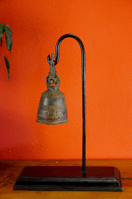 Bronze Temple Bell with Tripod Home Accessories Decoration Asian Art Buddha
