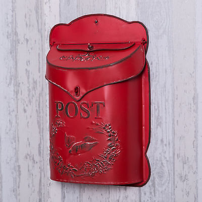 Red Post Box Letter Holder Wall Mounted Storage Shabby Vintage Chic Letters Mail