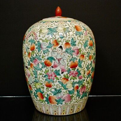 Antique Chinese Porcelain Vase Famille Verte, Hand painted with Children, Melons
