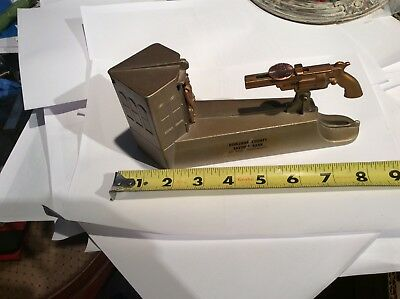 Vtg WILD WEST Mechanical Metal Bank Gun Cowboy Berkshire County  SAVINGS