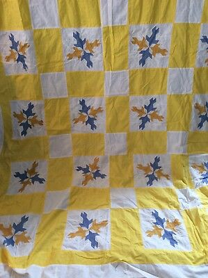 Vintage Pieced Cotton Quilt Top With Back, Dove In The Window Pattern