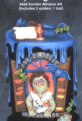 Ceramic Bisque Hand-Painted Lg Haunted House Candle On Base, Zombie