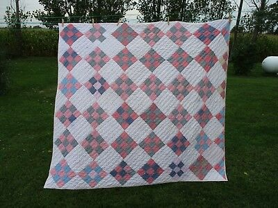 Antique Quilt-Circa 1890-1900-9 Patch-Hand Quilted-Signed