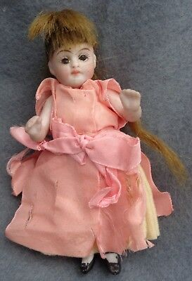 Tiny All  Bisque Dollhouse Doll Brown Glass Eyes  Jointed  German or French