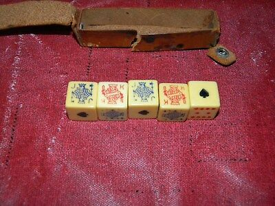 Vintage Poker Dice with Brown Leather Case