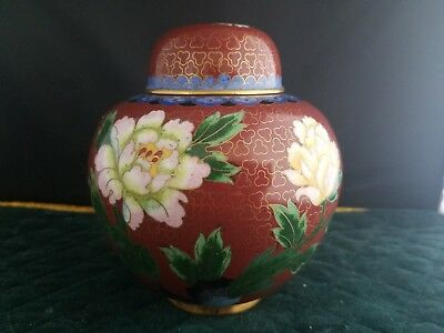 """Vintage Chinese  Cloisonne Ginger Jar with  Cover5 1/4"""" tall"""