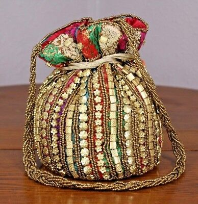 Multi Colored Draw String Purse Coin Pouch Vtg Gold Beads Ornate Glitzy Boho