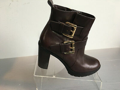 2182be42d8e6 Michael Kors Brown Leather Womens Ankle Boots booties Side Zipper Straps Sz  7M