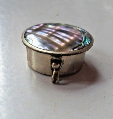 Vintage Sterling Silver Abalone Hinged Pill Box Mexico  + Marks