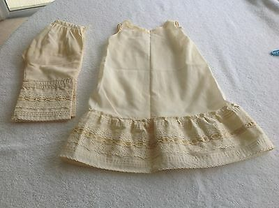Vintage Handmade  Child / Doll Dress & Pantaloons Beige W/ Lace Trim Two Pieces
