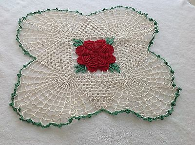Vintage Doily Crochet White With Raised Red Center Rose Green Trim