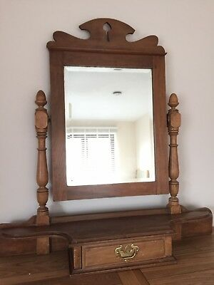 Antique Vintage Pine Wooden Dressing Table Top With Tilting Mirror