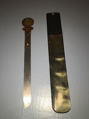 Vintage Letter Opener Stainless Steel Ruler With Protective Sleeve