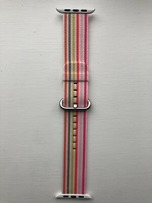 GENUINE APPLE WATCH WOVEN NYLON MMA12ZM/A 42/44 mm PINK STRIPE *EXTREMELY RARE*