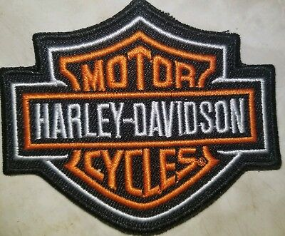 "Harley Davidson Motorcycles Small Patch Bar Shield Orange and Black 3.5""x2"""