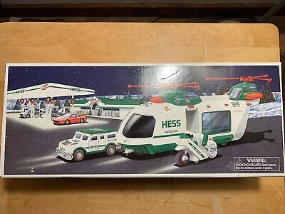 2001 Hess Toy Truck Helicopter With Motorcycle And Cruiser NEW IN BOX