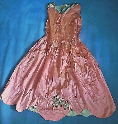 Lovely Antique French Silk Ombre Passamentarie Ribbon Lace Trim Dress